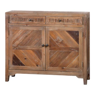Reclaimed Wood Chest Console For Sale