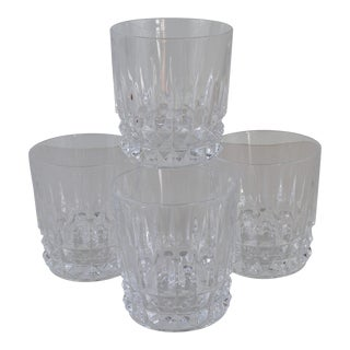 French Crystal Lowball Old Fashioned Glasses- Set of 4 For Sale
