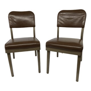 Vintage Industrial Brown Office Chairs - a Pair by All Steel Furniture For Sale