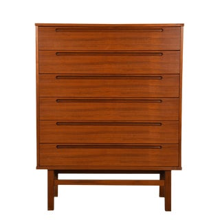 Danish Modern Tall Dresser with 6 Drawers in Teak