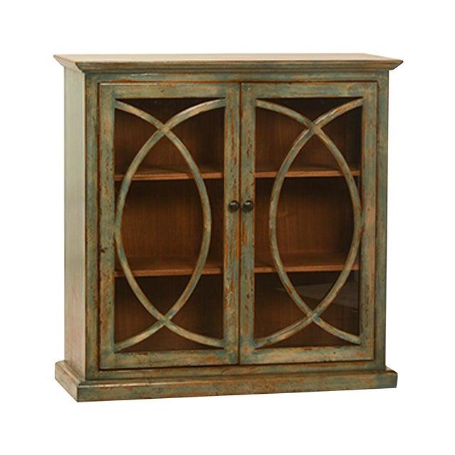 Deco Glass Door Side Cabinet For Sale