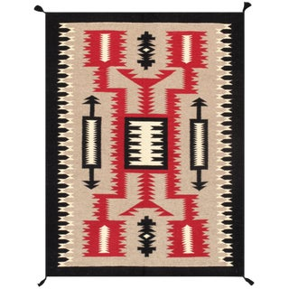 Pasargad Home Navajo Style Wool Area Rug - 4′4″ × 5′10″ For Sale