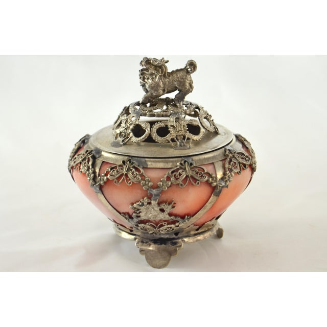 Silver & Pink Onyx Foo Dog Censor - Image 9 of 9
