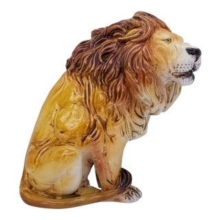 Vintage Italian Terra Cotta Lion Figurine For Sale