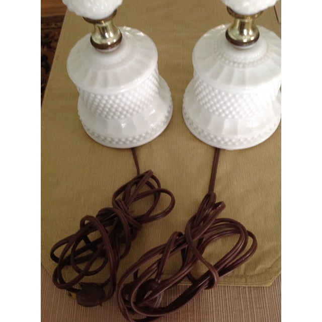 Antique White Hobnail Milk Glass Table Lamps - A Pair - Image 4 of 7