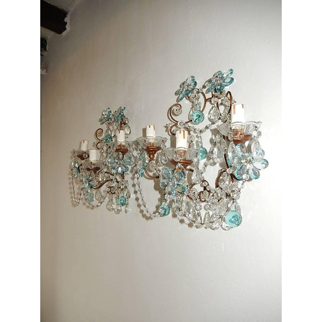 French French Maison Baguès Style Aqua Blue Floral Crystal Sconces, circa 1920 For Sale - Image 3 of 10
