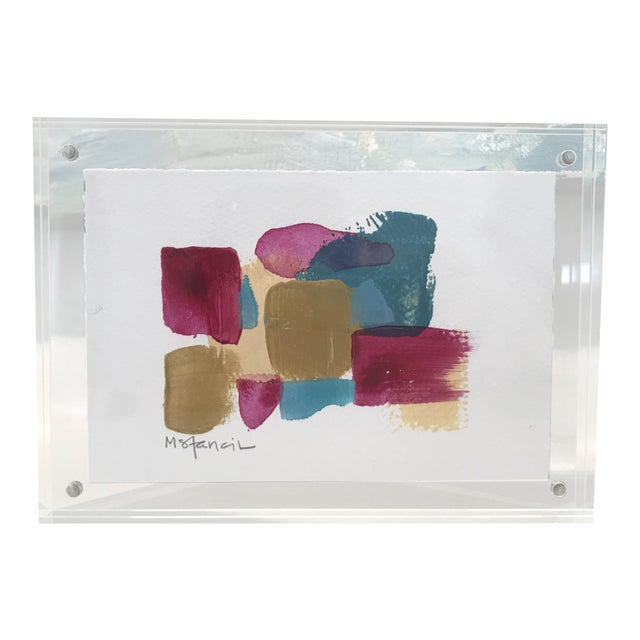 Lucite Framed Abstract Painting on Paper For Sale