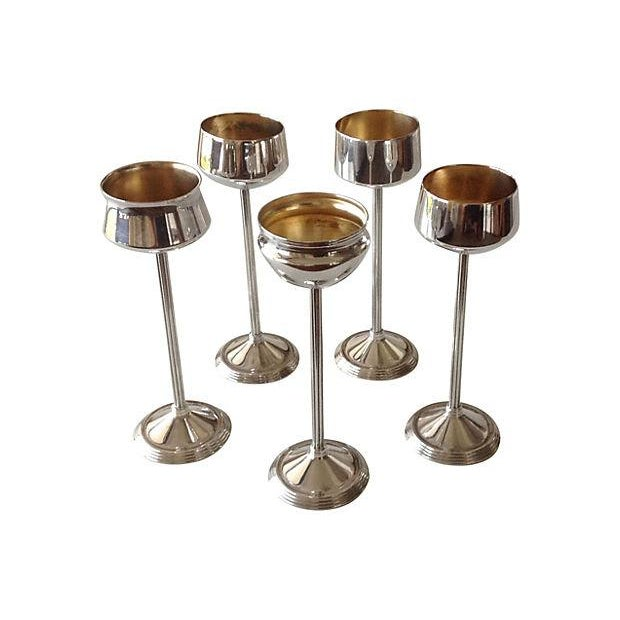 Contemporary Silverplate Footed Votive Candle Holders -Set of 5 For Sale - Image 3 of 4