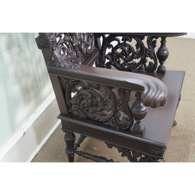 Antique 19th Century Carved Oak Throne Chair - Image 2 of 10