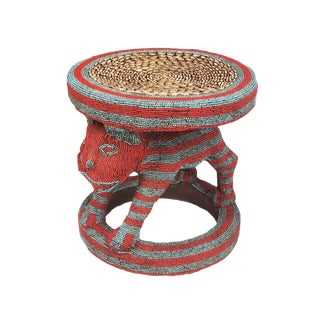 """African Lg King Bamileke Beaded Table /Stool Cameroon 18.25"""" H by 18"""" D For Sale"""