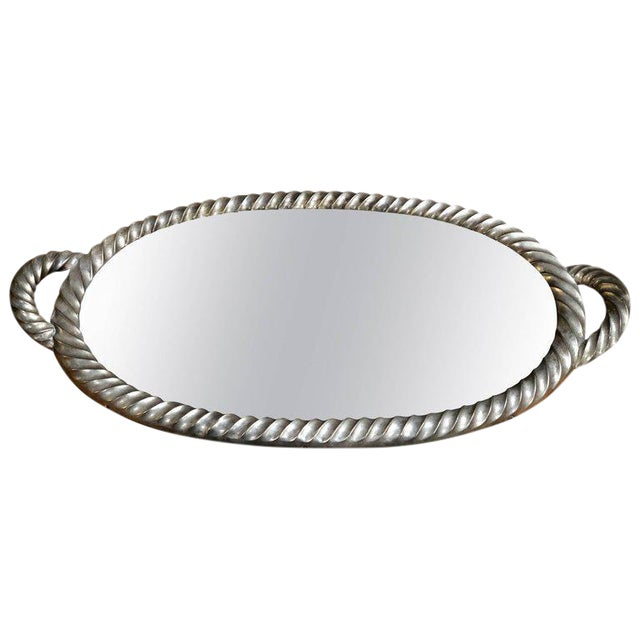 Italian Tray in Silver Leaf With Mirrored Glass Top, 1940s For Sale