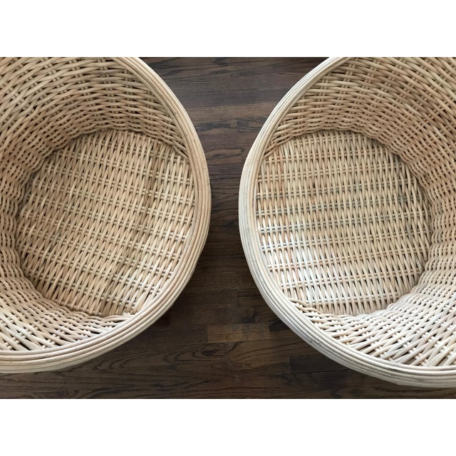 Rattan Barrel Tub Chairs Danish Modern Style With Wood Legs - Pair - Image 9 of 13