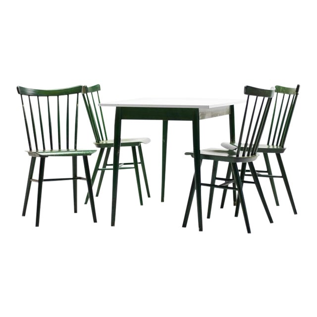 Set of Four Ilmari Tapiovaara Spindle Back Chairs and Table For Sale