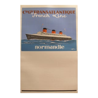Original 1930s Ocean Liner Poster, Normandie, the French Line Rare For Sale