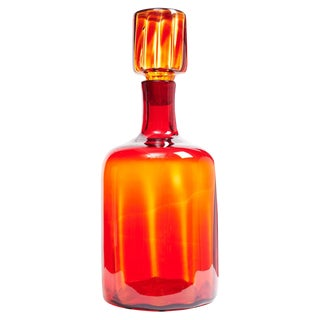 Tangerine Amberina Optic Glass Architectural Decanter by Joel Philip Myers for Blenko For Sale