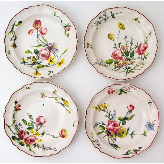 Pink Antique French Faience Veuve Perrin Pottery Bowls - Set of 4 For Sale - Image 8 of 8