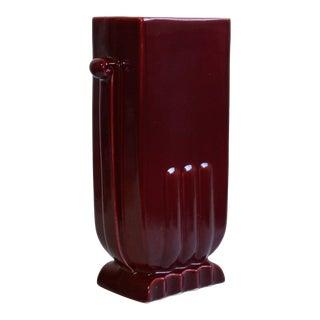 Vintage Art Deco Maroon Pottery Vase For Sale
