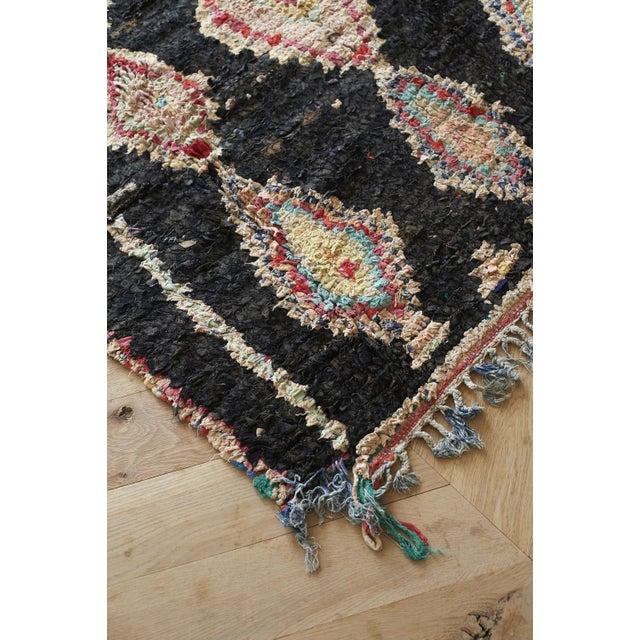 "Boho Chic Black Square Boucherouite Rug - 4' 5"" x 6' 1"" For Sale - Image 3 of 3"