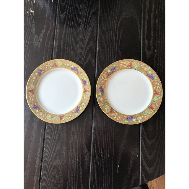 Set of two 2 Limoges plates manufactured by ancienne manufacture Royale. Pattern is Botticelli, an Italian inspired design...