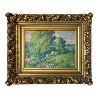1940s Plein Air Landscape Oil Painting, Framed For Sale