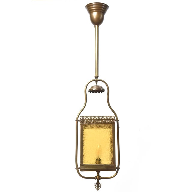 Victorian Harp Lantern with Amber Glass For Sale - Image 11 of 11