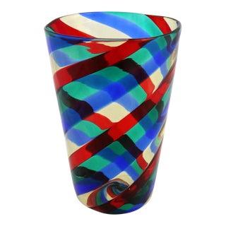 Fasce Ritorte Red Blue Green Murano Glass Vase Attributed to Fulvio Bianconi for Venini For Sale