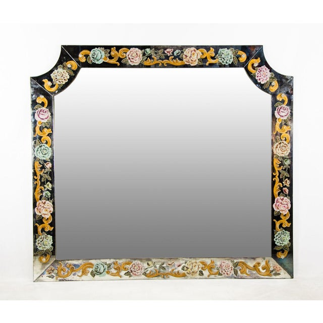 Late 19th Century Antique Venetian Reverse Hand Painted Floral Wall Mirror For Sale - Image 13 of 13