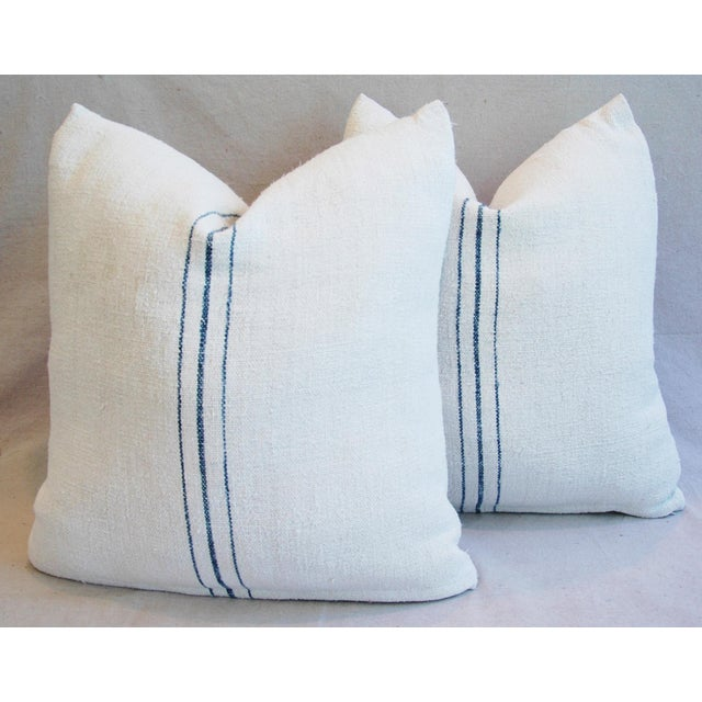 Vintage French Grain Sack Textile Pillows - A Pair - Image 2 of 10