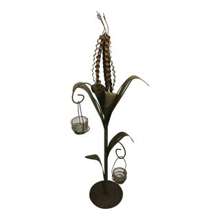 Tole Cornstalk Sculpture Lantern For Sale