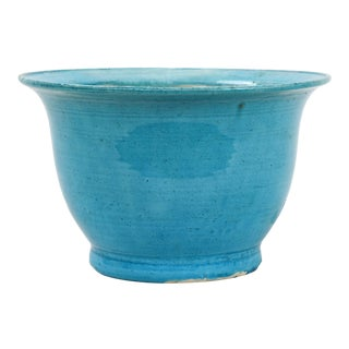 Late 19th Century Turquoise-Sky Blue Glazed Porcelain Planter For Sale