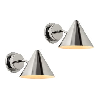 Hans-Agne Jakobsson 'Mini-Tratten' Polished Nickel Outdoor Sconces - a Pair For Sale