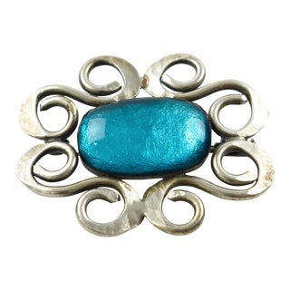 Mid-Century Modernist Pin Brooch Electric Blue Glass Cabochon For Sale