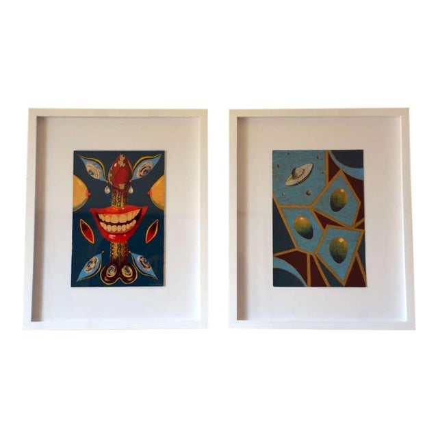 Pair of Whimsical Surrealist Oil on Panel Paintings in Shadow Boxes For Sale
