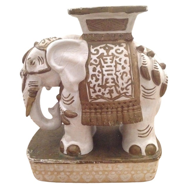 Vintage Ceramic Elephant Garden Stool - Image 1 of 7