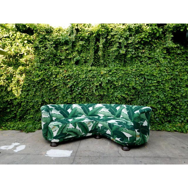Palmier Curved Art Deco Sofa For Sale - Image 10 of 11