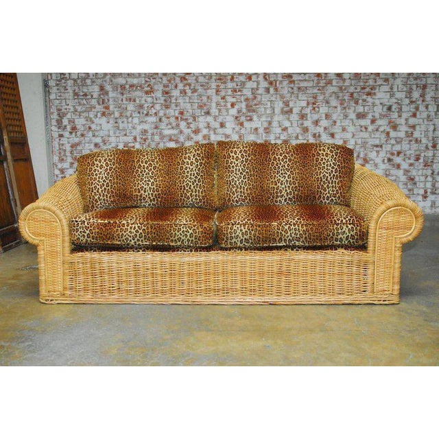 "Stunning Michael Taylor inspired stick wicker sofa custom-made by ""The Wicker Works"" in San Francisco, CA. Features a..."