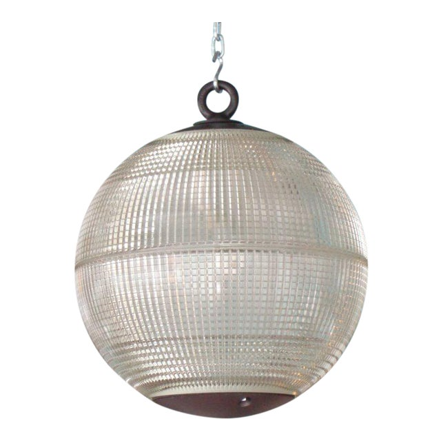 Large Holophane Glass Sphere Globe Light For Sale