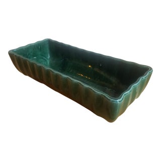 1950s Asian Modern Imperial Green Ceramic Dish/Vase For Sale