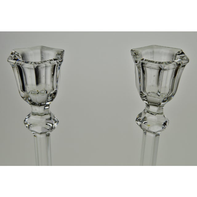 Mid 20th Century Vintage Glass Candlesticks - a Pair For Sale - Image 5 of 12