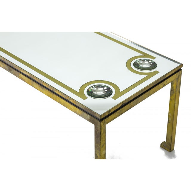 Modern Andre Hayat Exclusive Long Bronze Coffee Table With Mirrored Top & Lense Effect For Sale - Image 3 of 5