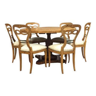 Late 19th Century Vintage Biedermeier Dining Set- 7 Pieces For Sale