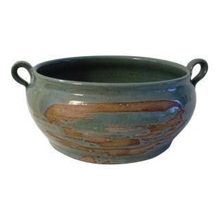 Vintage Hand Made Studio Art Aqua Pottery Bowl For Sale