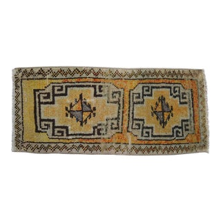 Distressed Low Pile Rug Faded Colors Vintage Petite Yastik Rug Bath Mat- 18'' X 40'' For Sale