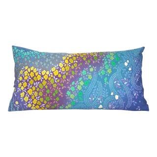 Swirling Rainbow Blossom Japanese Shibori Kimono Pillow Cover For Sale