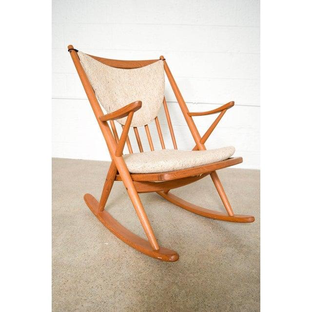 Brown Vintage Mid Century Danish Modern Frank Reenskaug for Bramin Teak Wood Rocker Rocking Chair, 1960s For Sale - Image 8 of 11