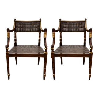 Early 20th Century Regency Style Caned Satinwood Armchairs - a Pair For Sale