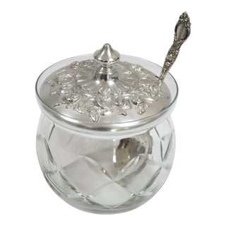 1950s Sterling Silver & Hand Cut Crystal Jam Jar For Sale