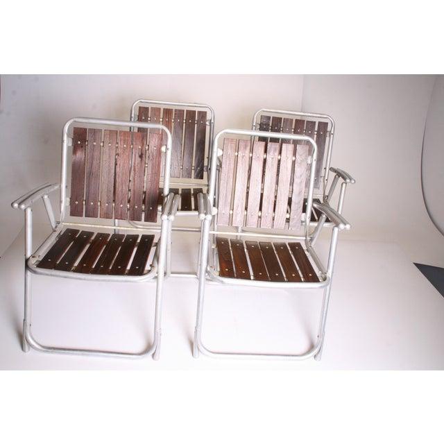 Vintage Redwood & Aluminum Folding Rocking Chairs - Set of 4 - Image 2 of 11