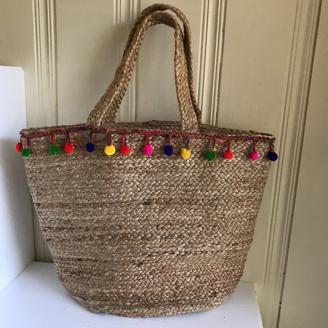 Boho Jute Large Basket Tote For Sale - Image 12 of 12