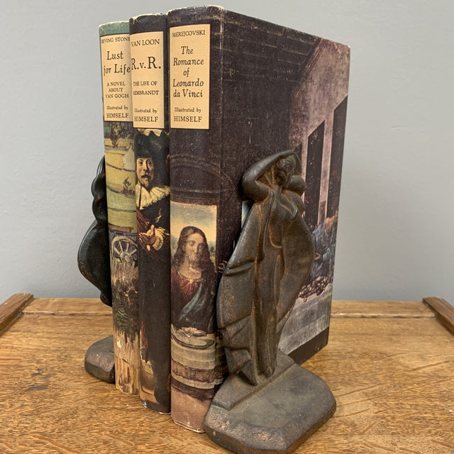 1930s Iron Art Deco Bookends - a Pair For Sale - Image 4 of 6